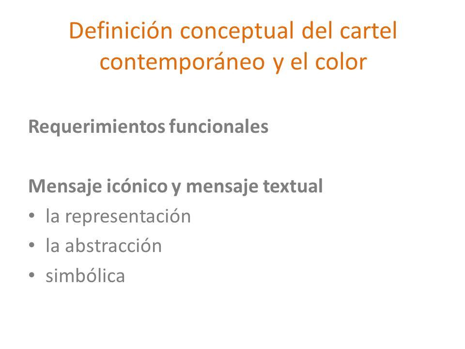 Definición conceptual del cartel contemporáneo y el color Requerimientos funcionales Mensaje icónico y mensaje textual la representación la abstracció