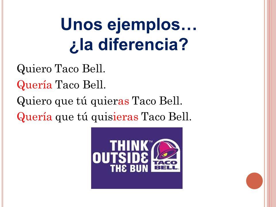 Quiero Taco Bell. Quería Taco Bell. Quiero que tú quieras Taco Bell.