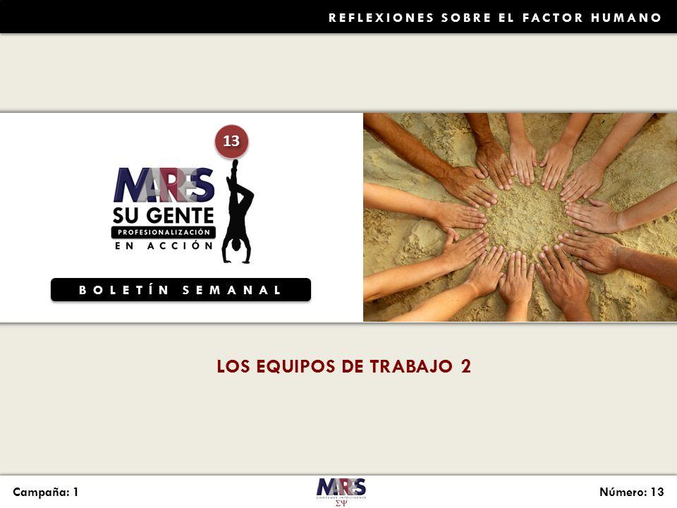 BOLETÍN SEMANAL 13 Campaña: 1Número: 13 REFLEXIONES SOBRE EL FACTOR HUMANO LOS EQUIPOS DE TRABAJO 2