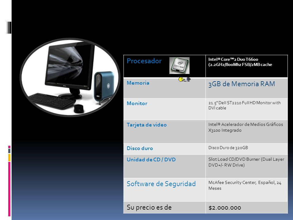 Procesador Intel® Core2 Duo T6600 (2.2GHz/800Mhz FSB/2MB cache Memoria 3GB de Memoria RAM Monitor 21.5