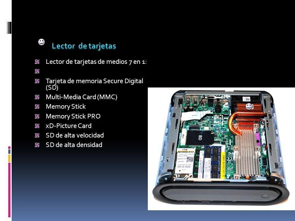 Lector de tarjetas de medios 7 en 1: Tarjeta de memoria Secure Digital (SD) Multi-Media Card (MMC) Memory Stick Memory Stick PRO xD-Picture Card SD de