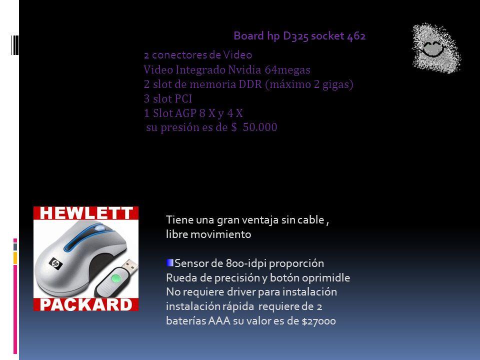 2 conectores de Video Video Integrado Nvidia 64megas 2 slot de memoria DDR (máximo 2 gigas) 3 slot PCI 1 Slot AGP 8 X y 4 X su presión es de $ 50.000