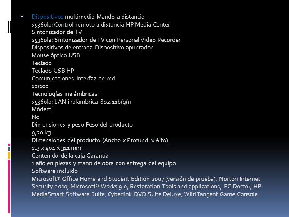 Dispositivos multimedia Mando a distancia s5360la: Control remoto a distancia HP Media Center Sintonizador de TV s5360la: Sintonizador de TV con Perso