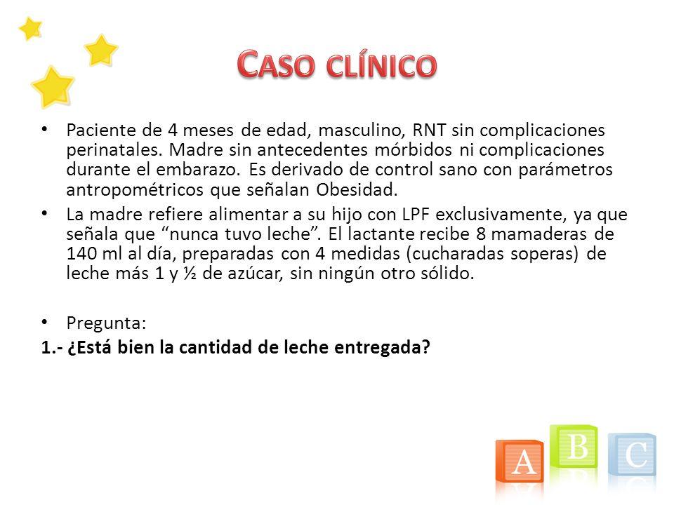 Paciente de 4 meses de edad, masculino, RNT sin complicaciones perinatales. Madre sin antecedentes mórbidos ni complicaciones durante el embarazo. Es