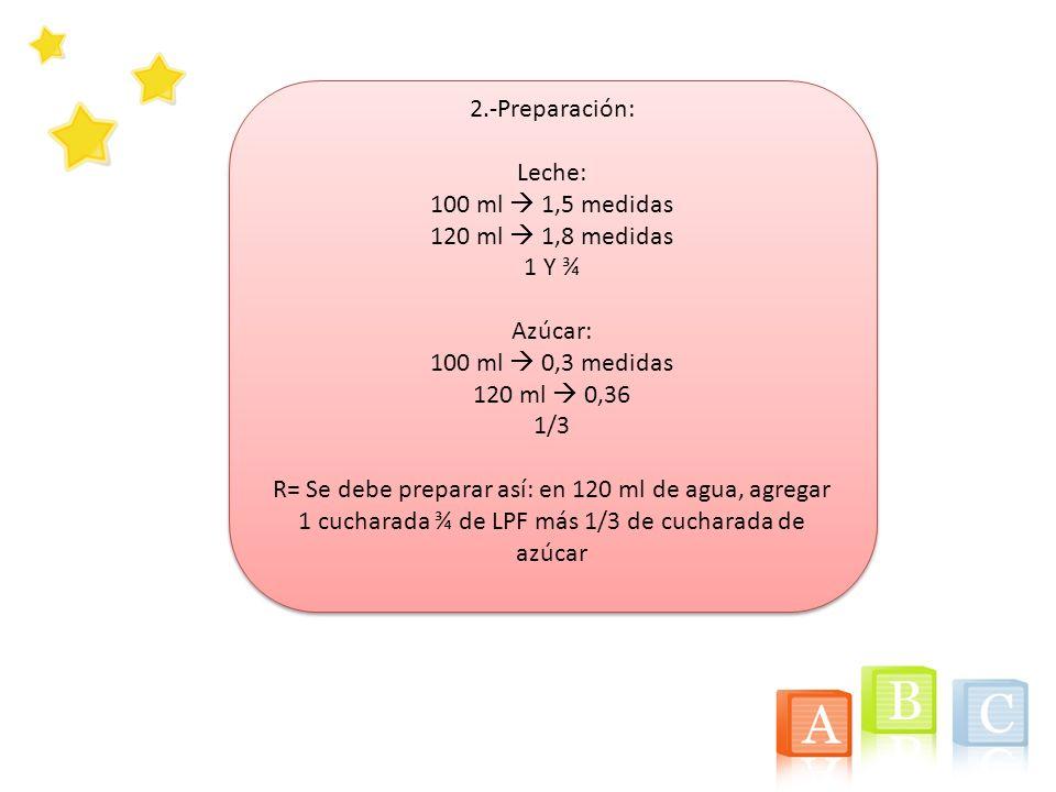 2.-Preparación: Leche: 100 ml 1,5 medidas 120 ml 1,8 medidas 1 Y ¾ Azúcar: 100 ml 0,3 medidas 120 ml 0,36 1/3 R= Se debe preparar así: en 120 ml de ag
