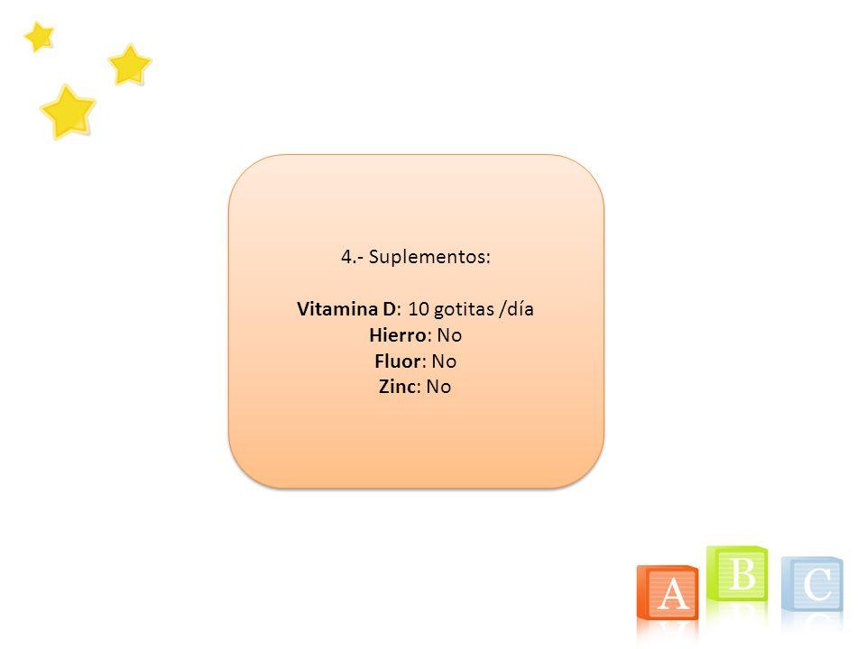 4.- Suplementos: Vitamina D: 10 gotitas /día Hierro: No Fluor: No Zinc: No 4.- Suplementos: Vitamina D: 10 gotitas /día Hierro: No Fluor: No Zinc: No