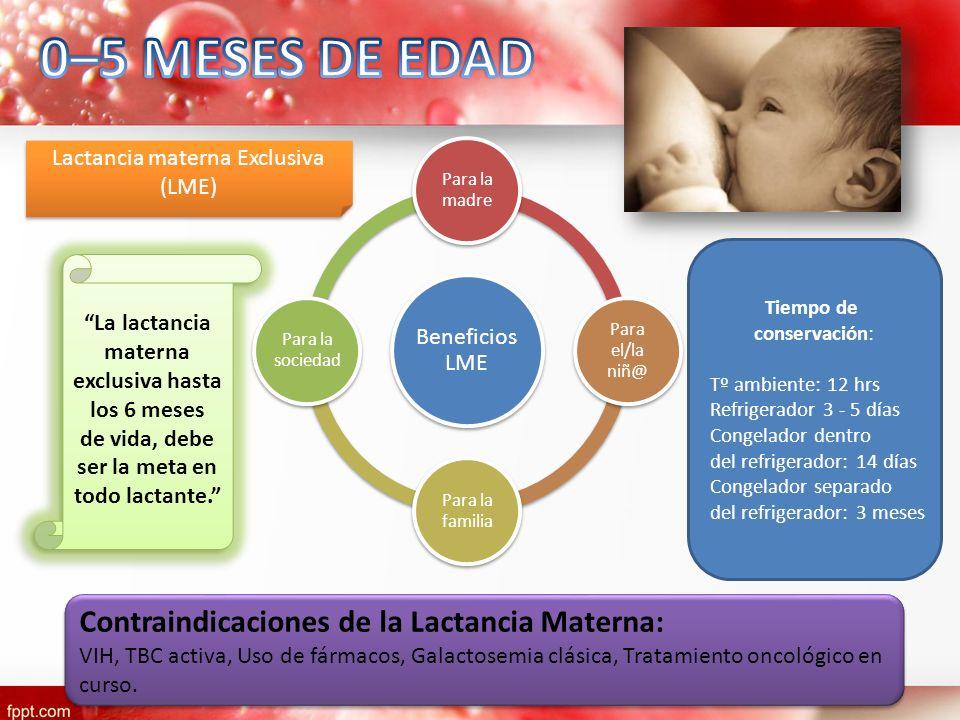 La lactancia materna exclusiva hasta los 6 meses de vida, debe ser la meta en todo lactante. La lactancia materna exclusiva hasta los 6 meses de vida,