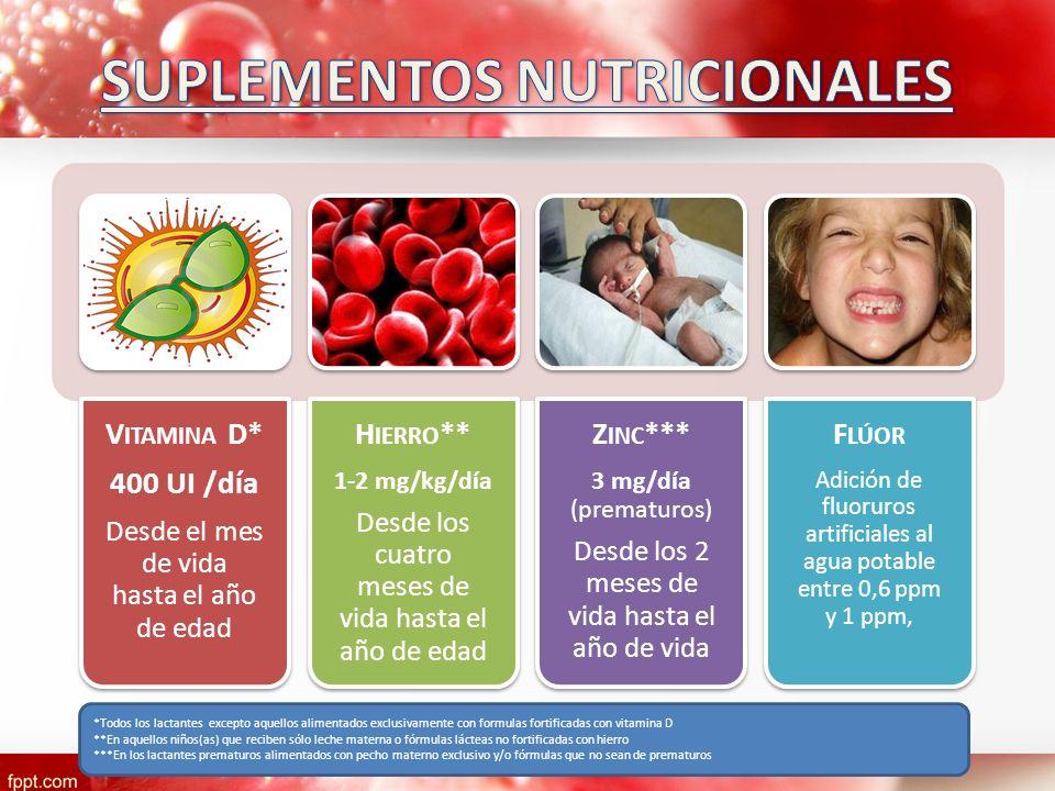 V ITAMINA D* 400 UI /día Desde el mes de vida hasta el año de edad H IERRO ** 1-2 mg/kg/día Desde los cuatro meses de vida hasta el año de edad Z INC
