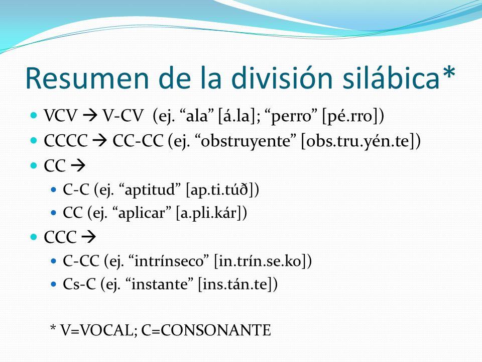 Resumen de la división silábica* VCV V-CV (ej. ala [á.la]; perro [pé.rro]) CCCC CC-CC (ej. obstruyente [obs.tru.yén.te]) CC C-C (ej. aptitud [ap.ti.tú