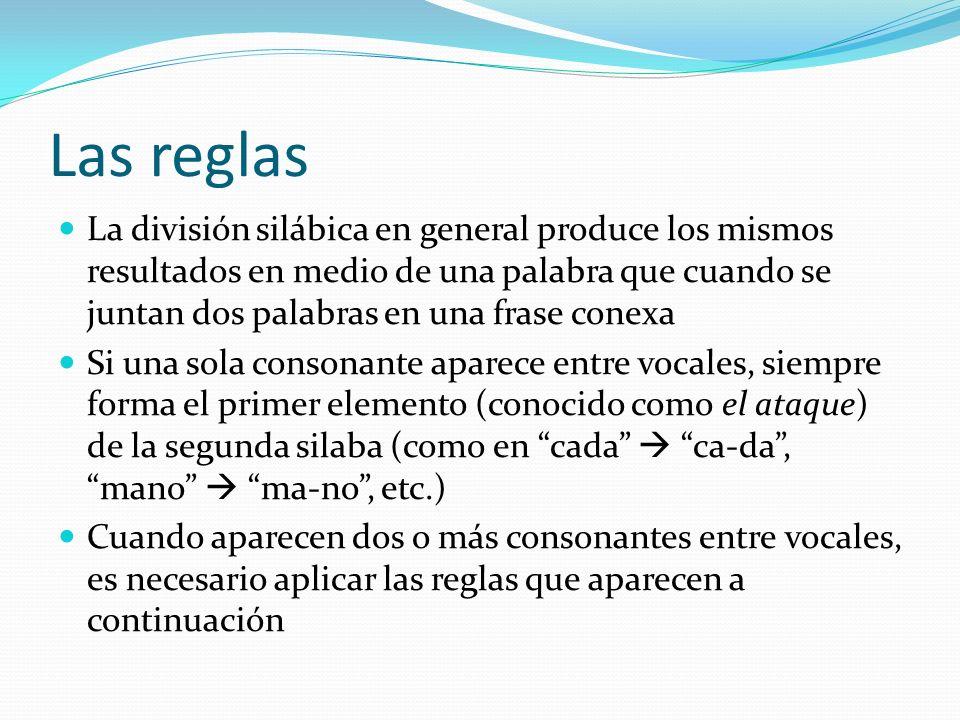 Las reglas La división silábica en general produce los mismos resultados en medio de una palabra que cuando se juntan dos palabras en una frase conexa