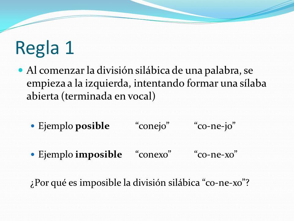 Regla 1 Al comenzar la división silábica de una palabra, se empieza a la izquierda, intentando formar una sílaba abierta (terminada en vocal) Ejemplo