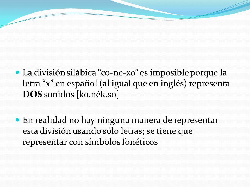 La división silábica co-ne-xo es imposible porque la letra x en español (al igual que en inglés) representa DOS sonidos [ko.nék.so] En realidad no hay