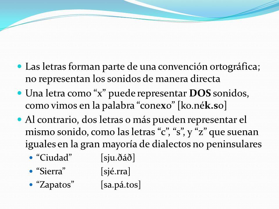 Las letras forman parte de una convención ortográfica; no representan los sonidos de manera directa Una letra como x puede representar DOS sonidos, co