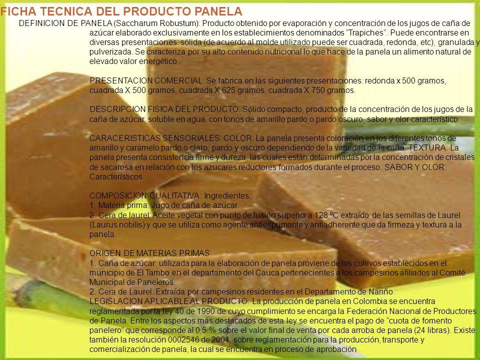 FICHA TECNICA DE LA PANELA GRANULADA DATOS GENERALES DEL PRODUCTO NOMBRE COMERCIAL Panela NOMBRE TECNICO : Panela granulada DESCRIPCION : Es un producto obtenido de la evaporación, concentración y cristalización del jugo de la caña ELAMENTOS NUTRICIONALES PANELA GRANULADA DETERMINACIONES UNIDADES CANTIDAD Sacarosa 83.33% Glucosa 5.81% Fructosa 5.81% Calcio mgr/100 gr.
