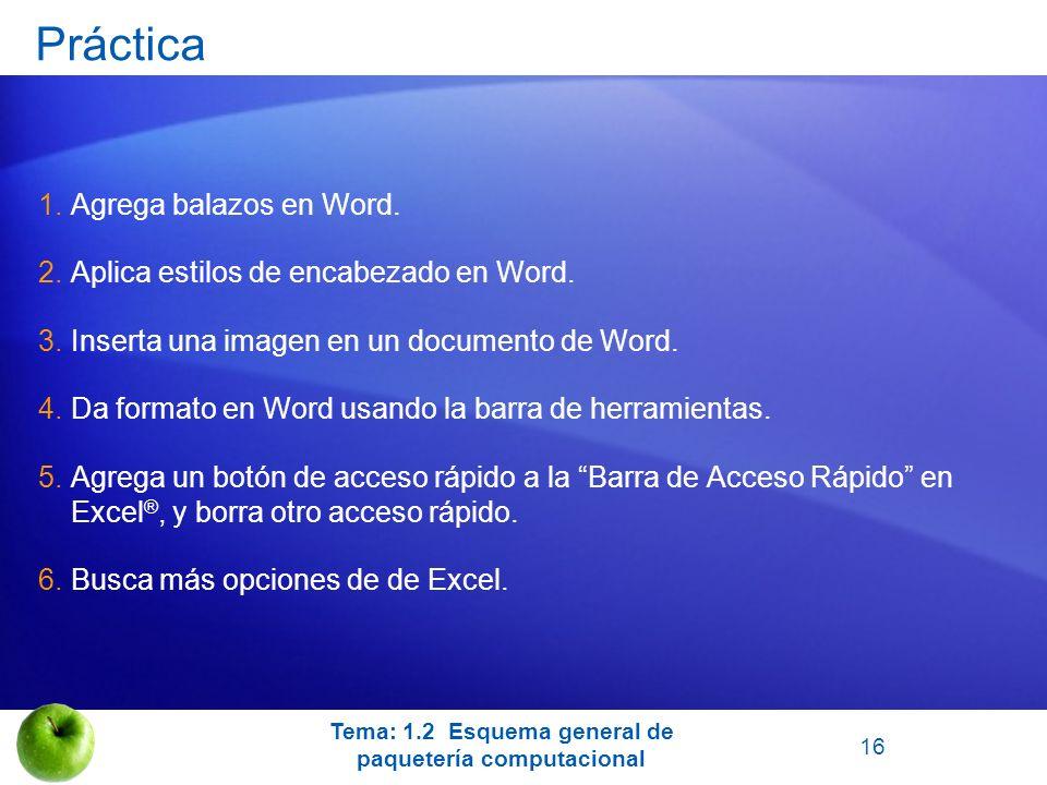 Práctica 1.Agrega balazos en Word. 2.Aplica estilos de encabezado en Word. 3.Inserta una imagen en un documento de Word. 4.Da formato en Word usando l