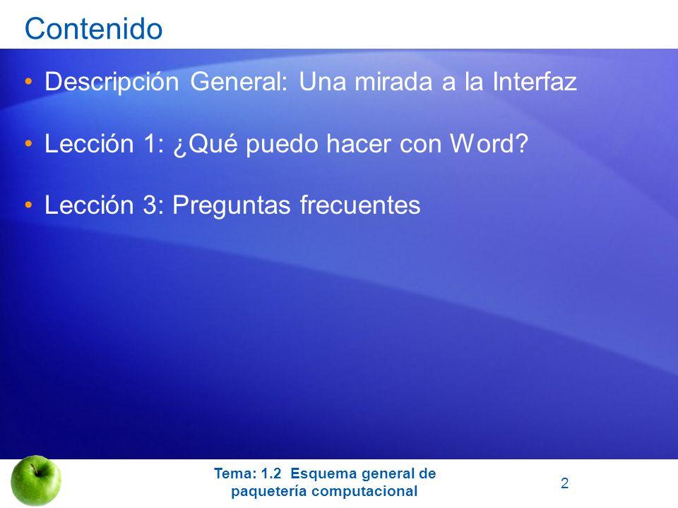 Tema: 1.2 Esquema general de paquetería computacional Contenido Descripción General: Una mirada a la Interfaz Lección 1: ¿Qué puedo hacer con Word? Le