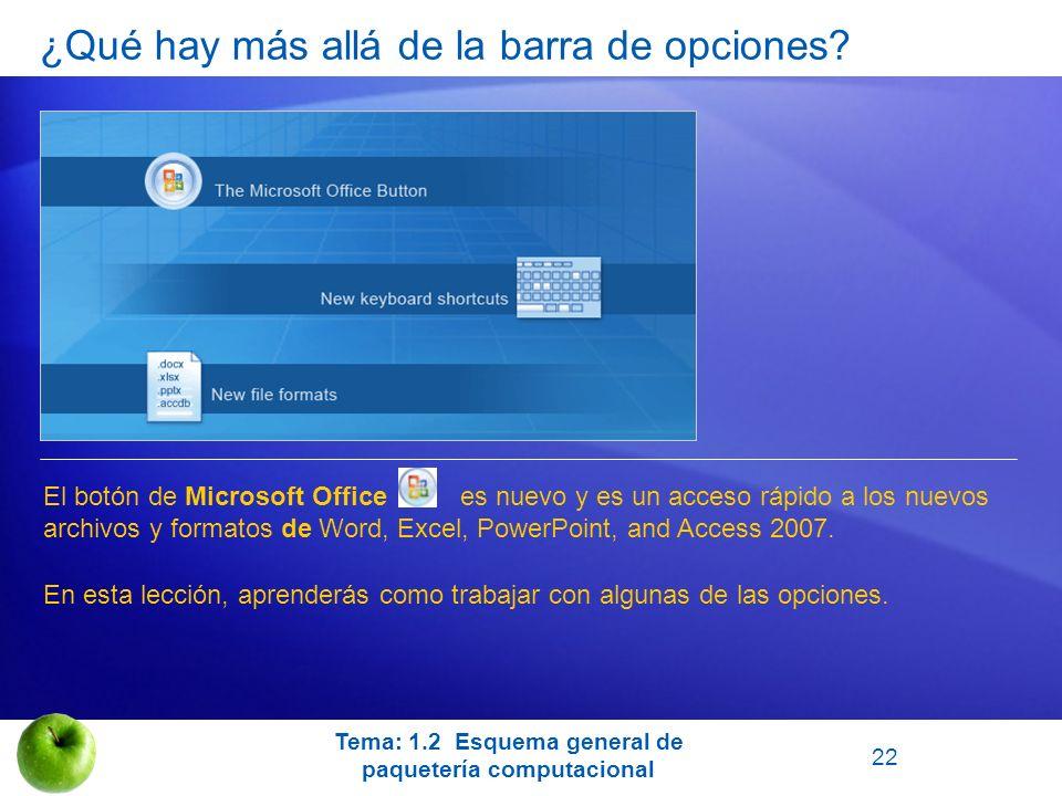 ¿Qué hay más allá de la barra de opciones? El botón de Microsoft Office es nuevo y es un acceso rápido a los nuevos archivos y formatos de Word, Excel