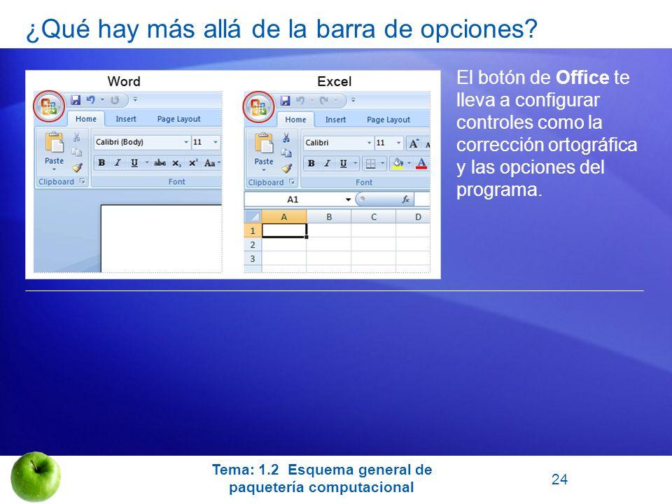 El botón de Office te lleva a configurar controles como la corrección ortográfica y las opciones del programa. Tema: 1.2 Esquema general de paquetería