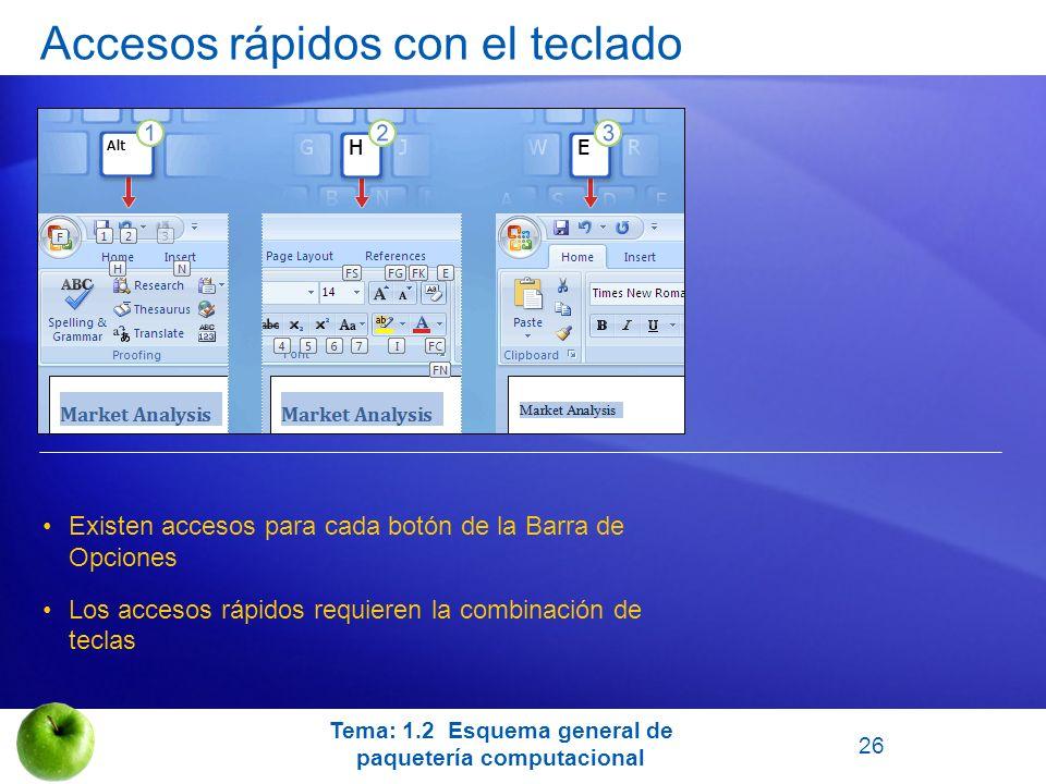 Existen accesos para cada botón de la Barra de Opciones Los accesos rápidos requieren la combinación de teclas Tema: 1.2 Esquema general de paquetería
