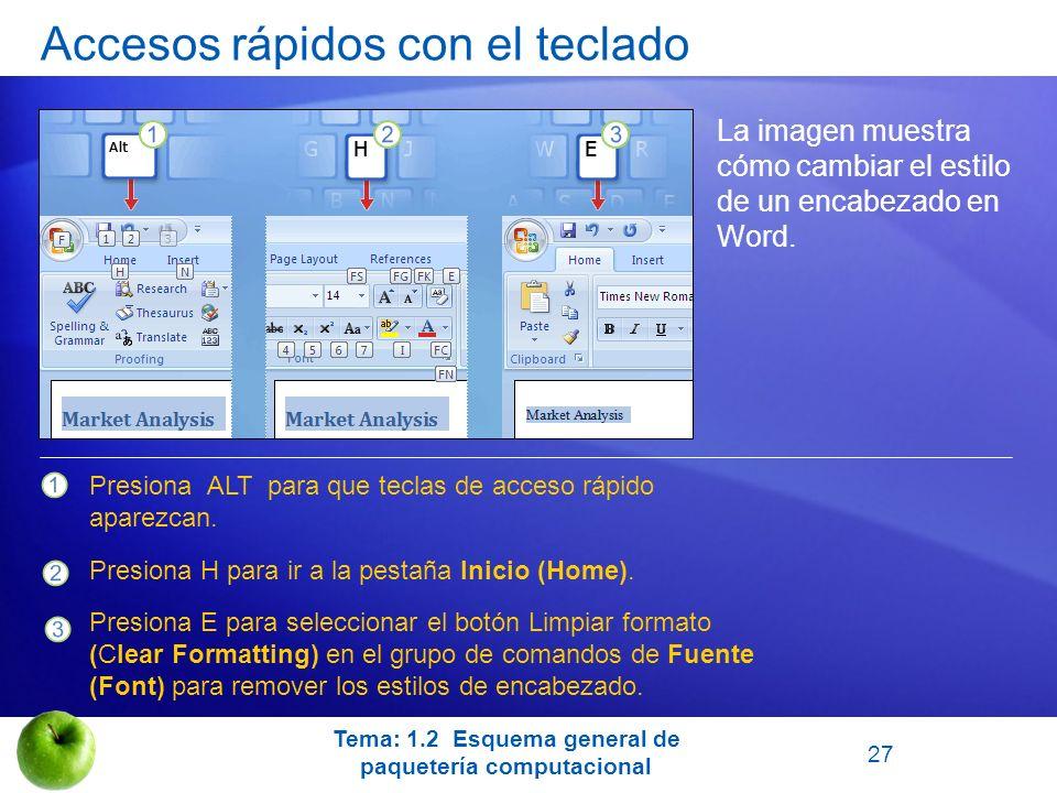 Accesos rápidos con el teclado La imagen muestra cómo cambiar el estilo de un encabezado en Word. Presiona ALT para que teclas de acceso rápido aparez