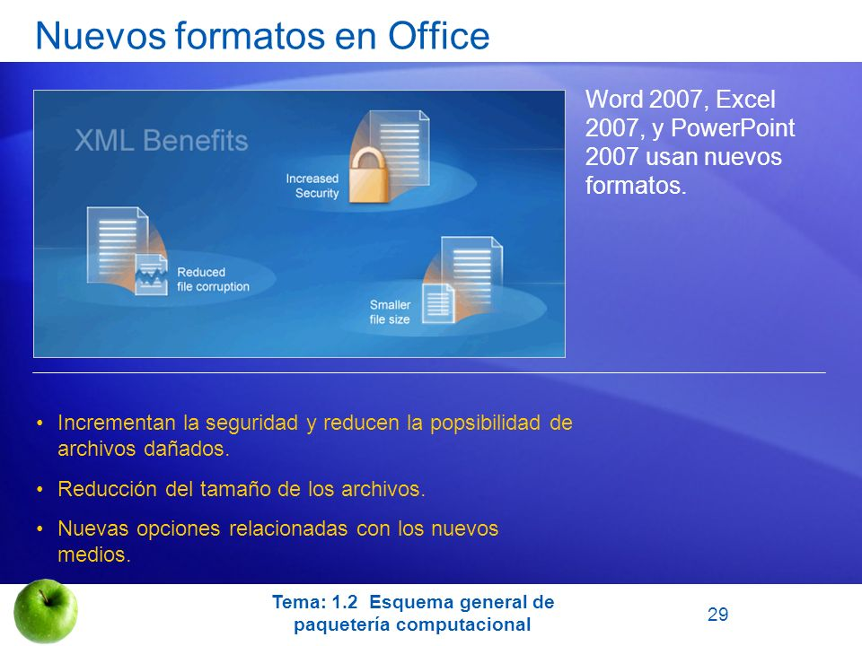 Nuevos formatos en Office Word 2007, Excel 2007, y PowerPoint 2007 usan nuevos formatos. Incrementan la seguridad y reducen la popsibilidad de archivo