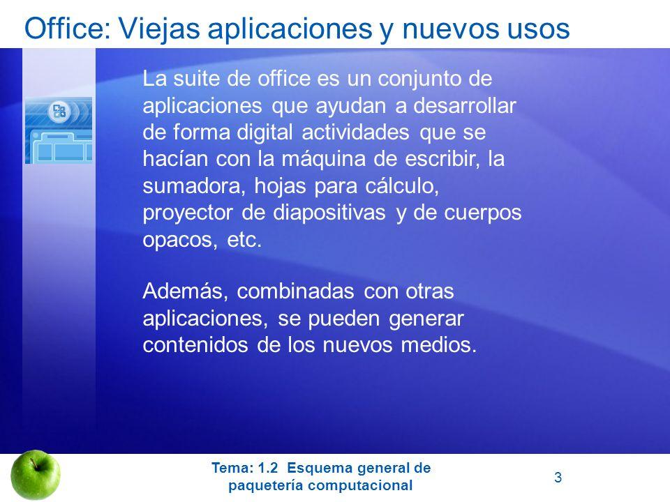 Office: Viejas aplicaciones y nuevos usos La suite de office es un conjunto de aplicaciones que ayudan a desarrollar de forma digital actividades que