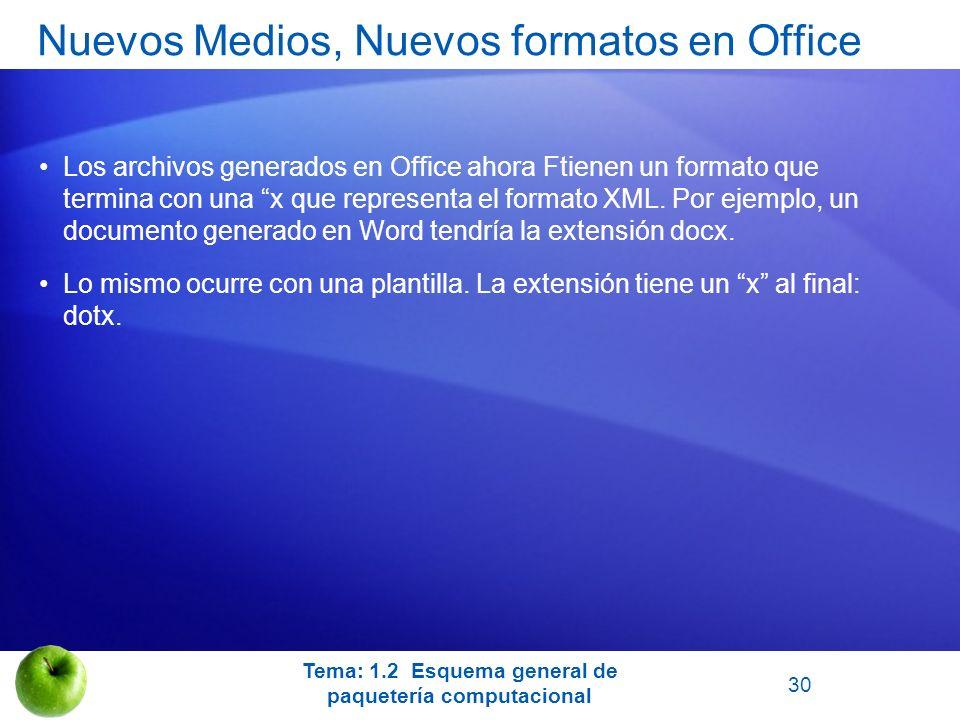 Los archivos generados en Office ahora Ftienen un formato que termina con una x que representa el formato XML. Por ejemplo, un documento generado en W