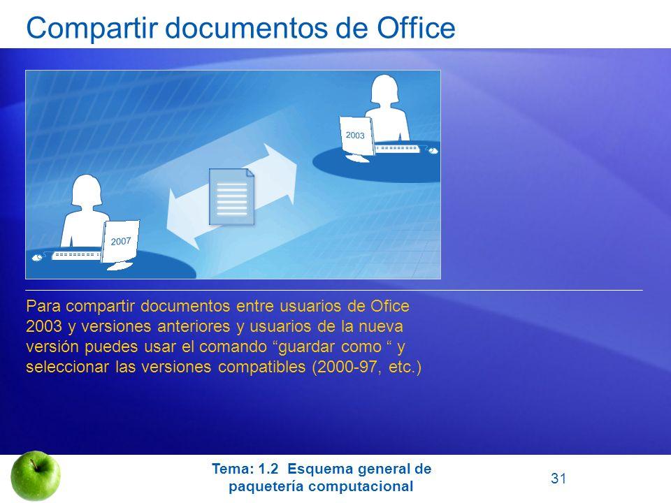 Compartir documentos de Office Para compartir documentos entre usuarios de Ofice 2003 y versiones anteriores y usuarios de la nueva versión puedes usa