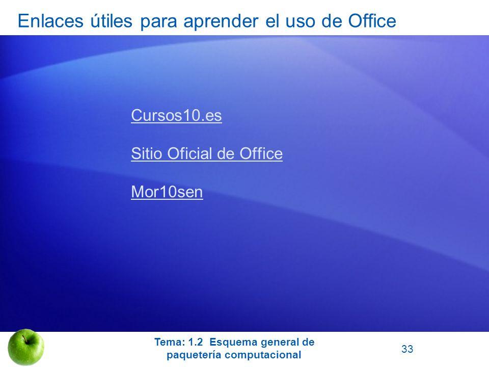 Enlaces útiles para aprender el uso de Office Cursos10.es Sitio Oficial de Office Mor10sen Tema: 1.2 Esquema general de paquetería computacional 33