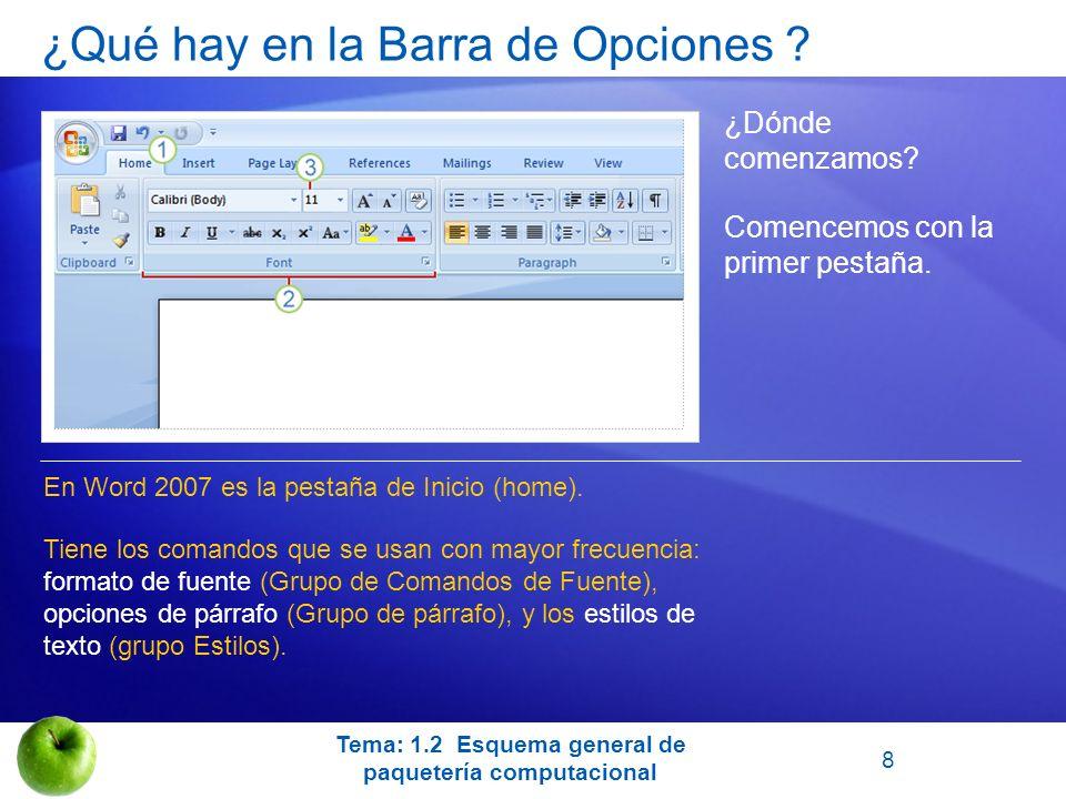 ¿Qué hay en la Barra de Opciones ? ¿Dónde comenzamos? En Word 2007 es la pestaña de Inicio (home). Tiene los comandos que se usan con mayor frecuencia