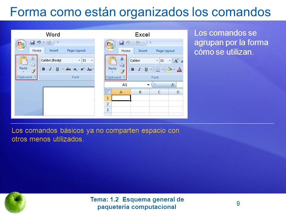 Forma como están organizados los comandos Los comandos se agrupan por la forma cómo se utilizan. Los comandos básicos ya no comparten espacio con otro