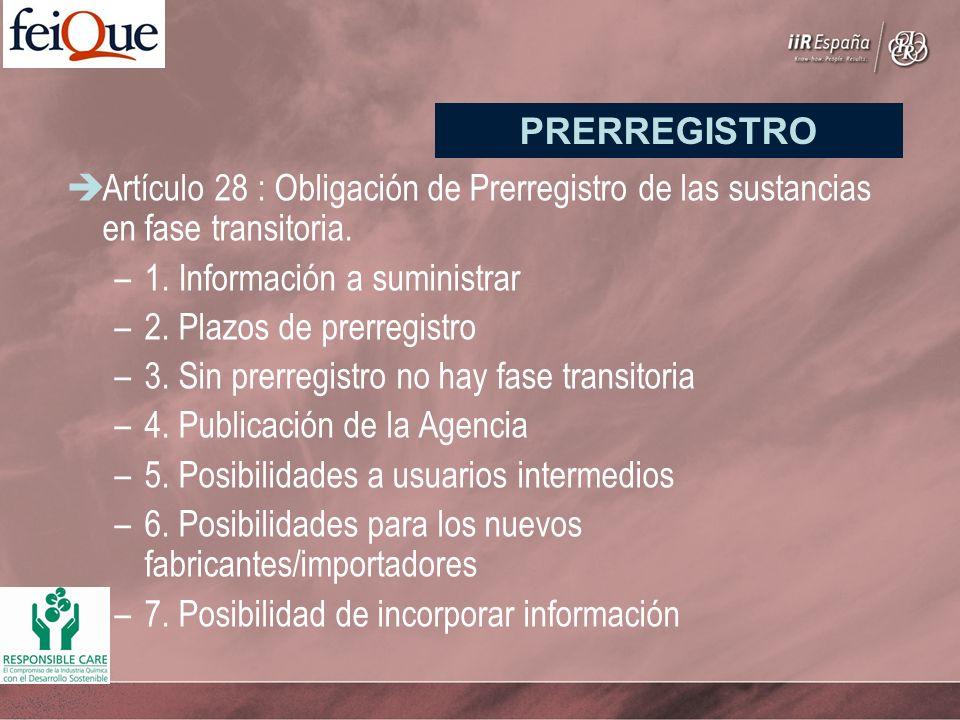 Artículo 28 : Obligación de Prerregistro de las sustancias en fase transitoria. –1. Información a suministrar –2. Plazos de prerregistro –3. Sin prerr