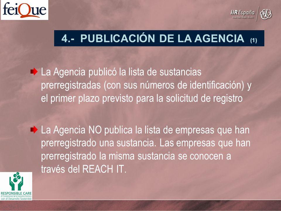 La Agencia publicó la lista de sustancias prerregistradas (con sus números de identificación) y el primer plazo previsto para la solicitud de registro La Agencia NO publica la lista de empresas que han prerregistrado una sustancia.