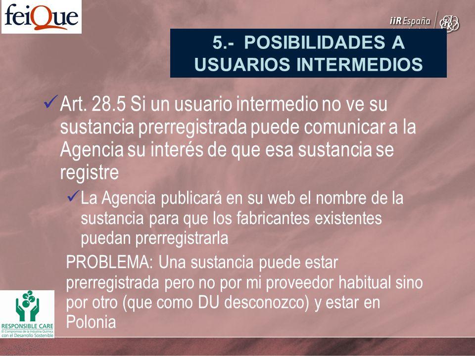 Art. 28.5 Si un usuario intermedio no ve su sustancia prerregistrada puede comunicar a la Agencia su interés de que esa sustancia se registre La Agenc