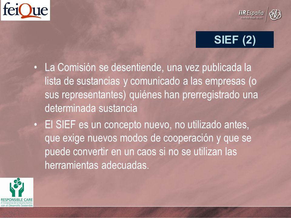 La Comisión se desentiende, una vez publicada la lista de sustancias y comunicado a las empresas (o sus representantes) quiénes han prerregistrado una