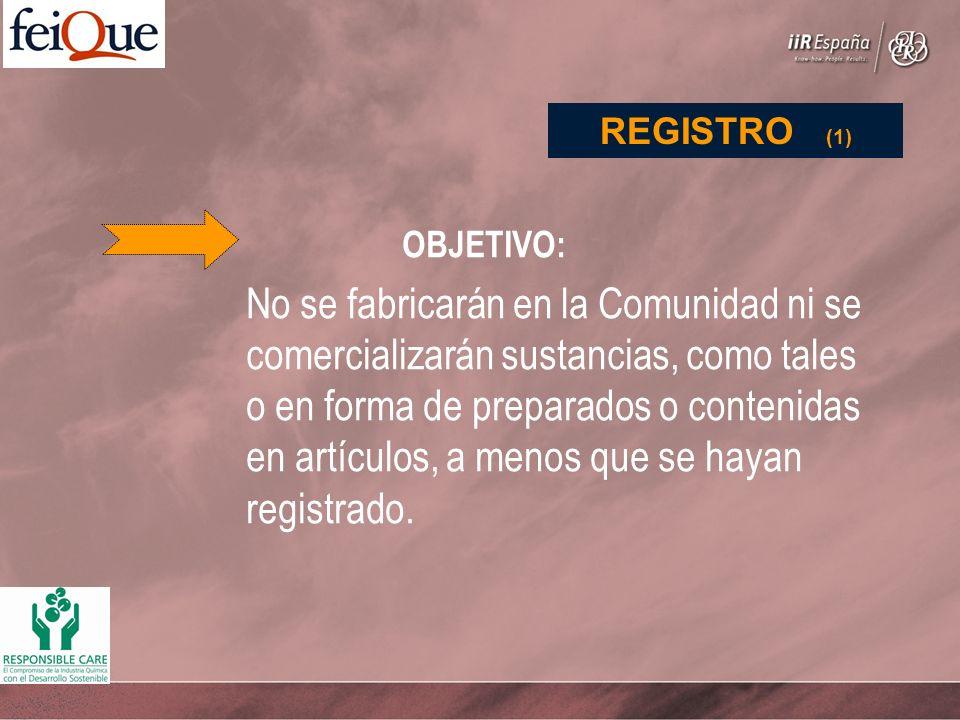 OBJETIVO: No se fabricarán en la Comunidad ni se comercializarán sustancias, como tales o en forma de preparados o contenidas en artículos, a menos que se hayan registrado.