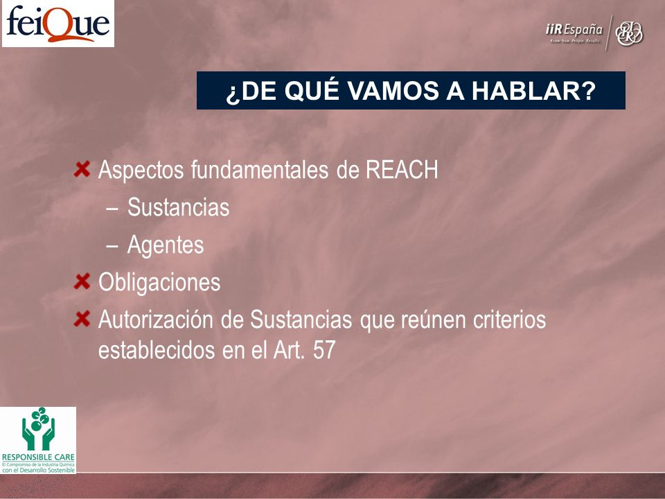 Aspectos fundamentales de REACH –Sustancias –Agentes Obligaciones Autorización de Sustancias que reúnen criterios establecidos en el Art. 57 ¿DE QUÉ V