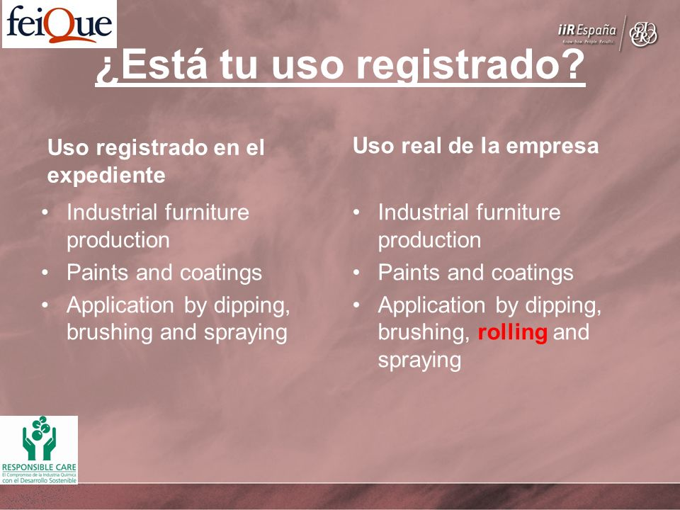 ¿Está tu uso registrado? Uso registrado en el expediente Industrial furniture production Paints and coatings Application by dipping, brushing and spra