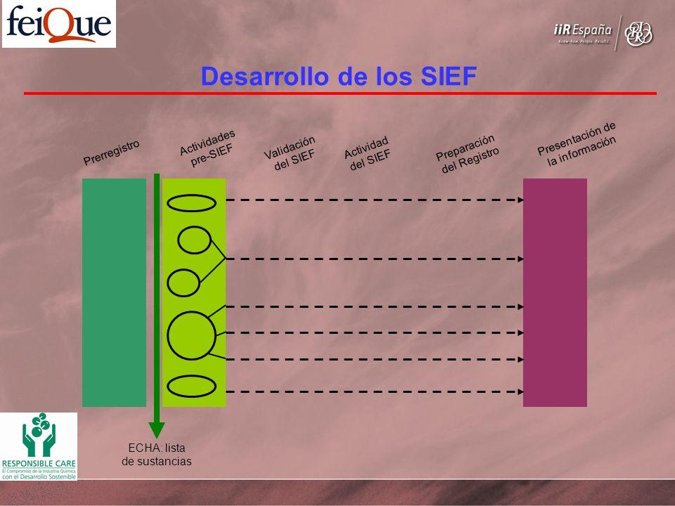 Desarrollo de los SIEF Prerregistro Actividades pre-SIEF Presentación de la información Validación del SIEF Actividad del SIEF Preparación del Registro ECHA: lista de sustancias
