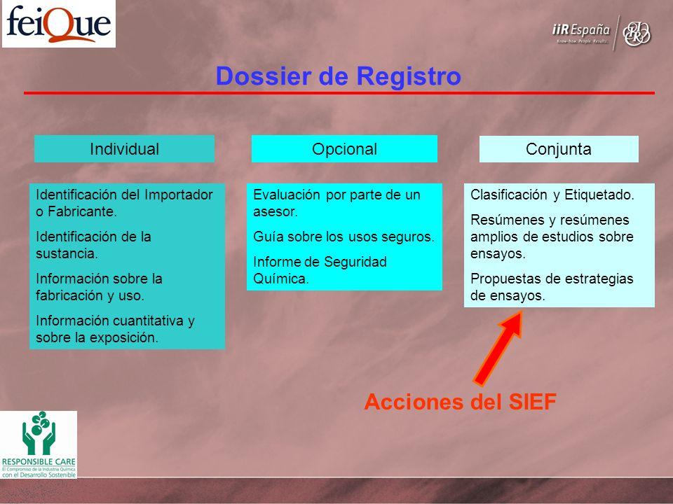 Dossier de Registro Individual Identificación del Importador o Fabricante. Identificación de la sustancia. Información sobre la fabricación y uso. Inf