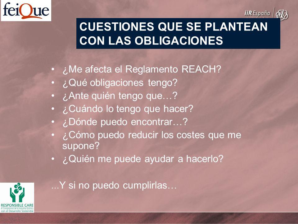 ¿Me afecta el Reglamento REACH? ¿Qué obligaciones tengo? ¿Ante quién tengo que…? ¿Cuándo lo tengo que hacer? ¿Dónde puedo encontrar…? ¿Cómo puedo redu