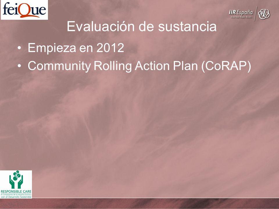 Evaluación de sustancia Empieza en 2012 Community Rolling Action Plan (CoRAP)