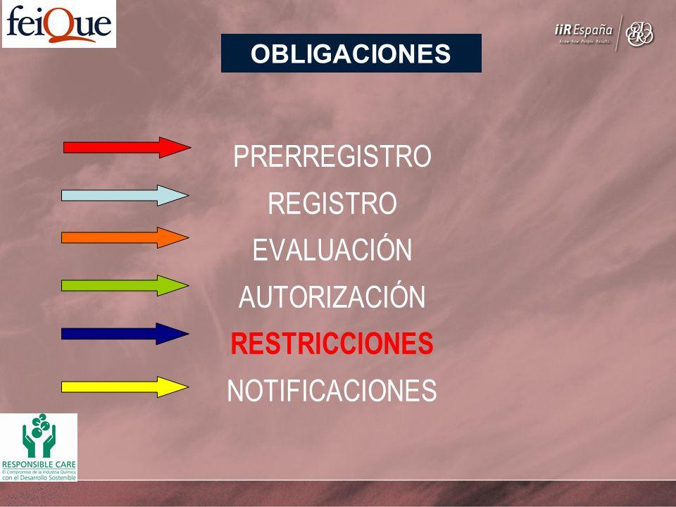 PRERREGISTRO REGISTRO EVALUACIÓN AUTORIZACIÓN RESTRICCIONES NOTIFICACIONES OBLIGACIONES