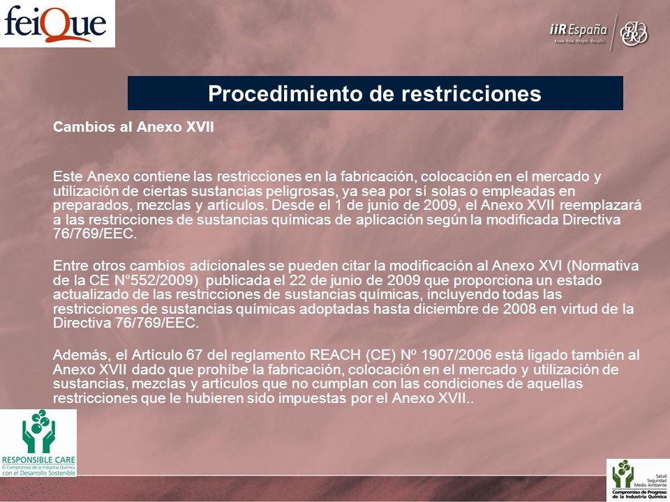 Cambios al Anexo XVII Este Anexo contiene las restricciones en la fabricación, colocación en el mercado y utilización de ciertas sustancias peligrosas, ya sea por sí solas o empleadas en preparados, mezclas y artículos.