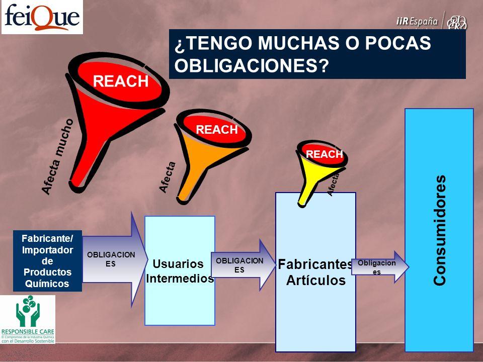 Fabricante/ Importador de Productos Químicos Usuarios Intermedios Fabricantes Artículos Consumidores Afecta mucho OBLIGACION ES REACH Obligacion es Afecta REACH Afecta REACH ¿TENGO MUCHAS O POCAS OBLIGACIONES?