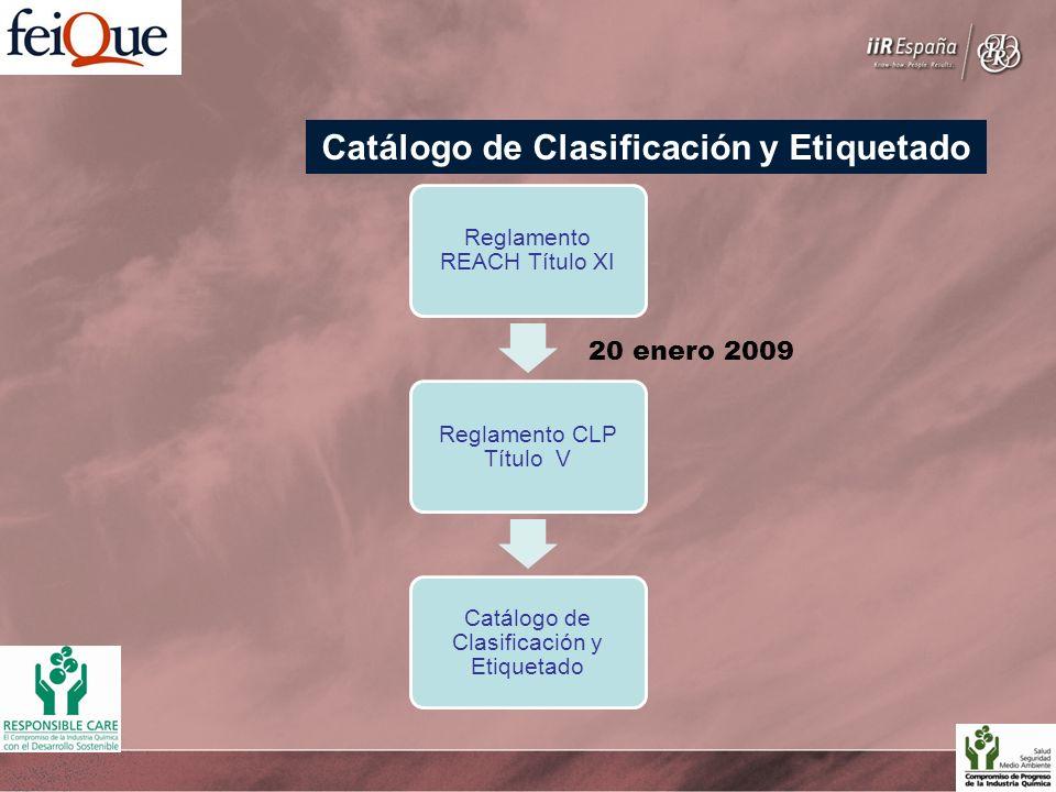 Reglamento REACH Título XI Reglamento CLP Título V Catálogo de Clasificación y Etiquetado 20 enero 2009 Catálogo de Clasificación y Etiquetado