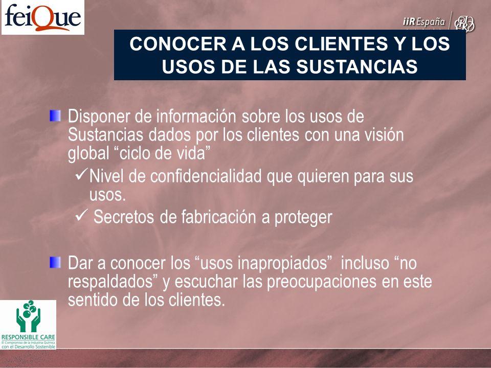 Disponer de información sobre los usos de Sustancias dados por los clientes con una visión global ciclo de vida Nivel de confidencialidad que quieren para sus usos.