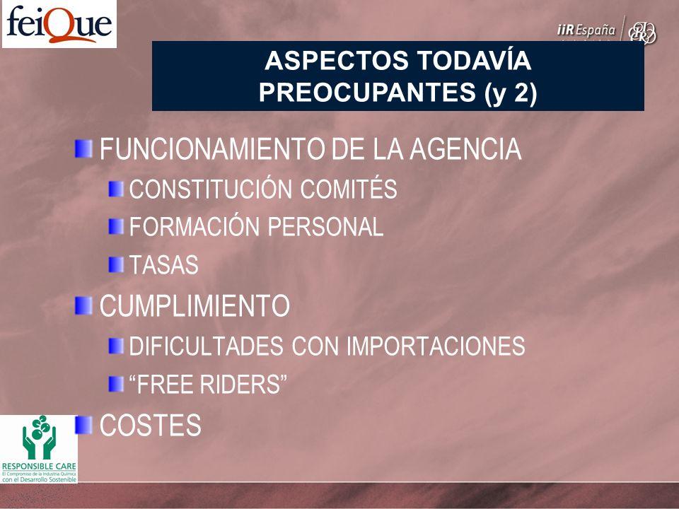 FUNCIONAMIENTO DE LA AGENCIA CONSTITUCIÓN COMITÉS FORMACIÓN PERSONAL TASAS CUMPLIMIENTO DIFICULTADES CON IMPORTACIONES FREE RIDERS COSTES ASPECTOS TODAVÍA PREOCUPANTES (y 2)