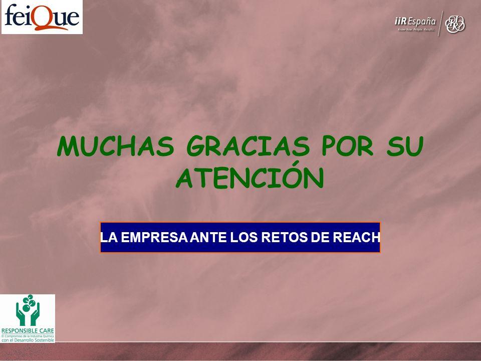 LA EMPRESA ANTE LOS RETOS DE REACH MUCHAS GRACIAS POR SU ATENCIÓN