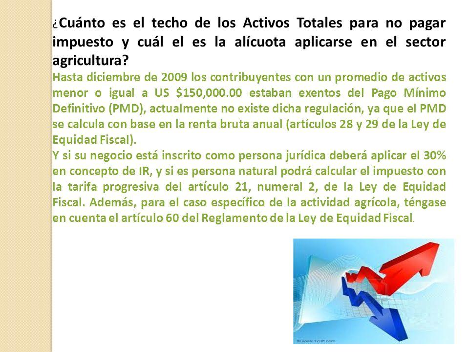 ¿ Cuánto es el techo de los Activos Totales para no pagar impuesto y cuál el es la alícuota aplicarse en el sector agricultura.